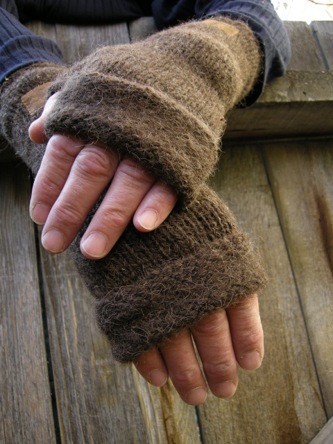 Finger Free Mitts knitted with Bison Ranch Yarn